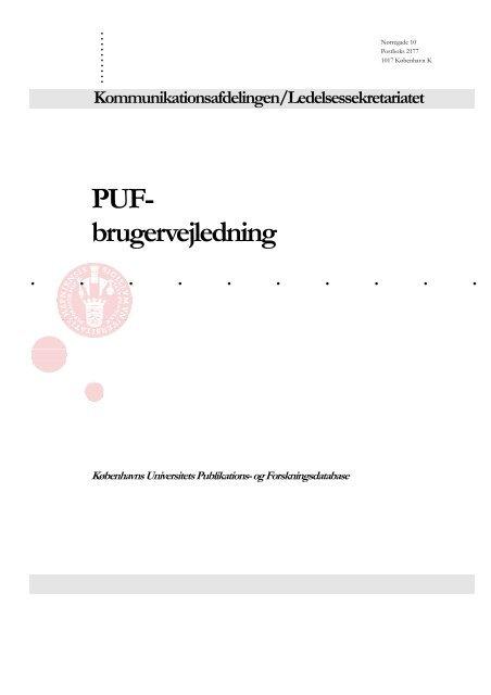 PUF- brugervejledning - Københavns Universitet