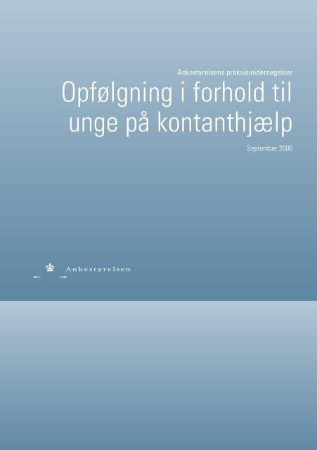 Praksisundersøgelse om unge på kontanthjælp 2006 - Ankestyrelsen