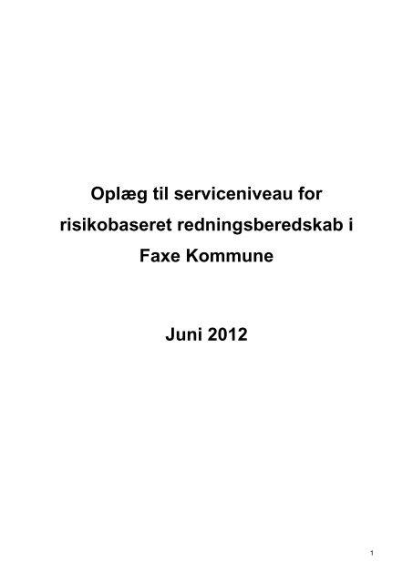 Projekt: Risikobaseret dimensionering - Faxe Kommune