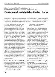 Forskning på sosial ulikhet i helse i Norge - Statistisk sentralbyrå