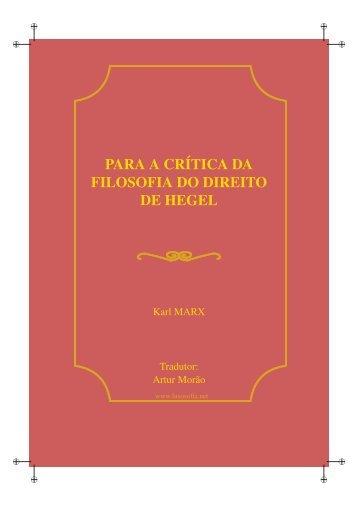 PARA A CRÍTICA DA FILOSOFIA DO DIREITO DE HEGEL - LusoSofia