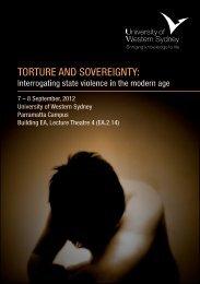 Torture and Sovereignty - Program - University of Western Sydney