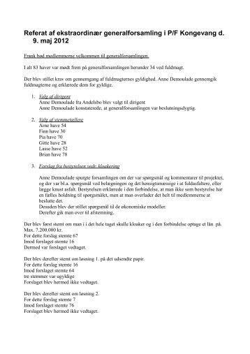 ekstraordinær generalforsamling 09.05.2012 - P/F Kongevang