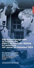Das Konzertprogramm zu Gunsten des Albert-Schweitzer-Spitals in ...