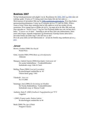 Bokliste 2007 - drypp . no
