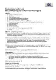 Bestemmelser vedrørende DS Certificering A/S's certificering efter ...