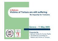 Presentation on Torture in Bahrain - Bahrain Center for Human Rights