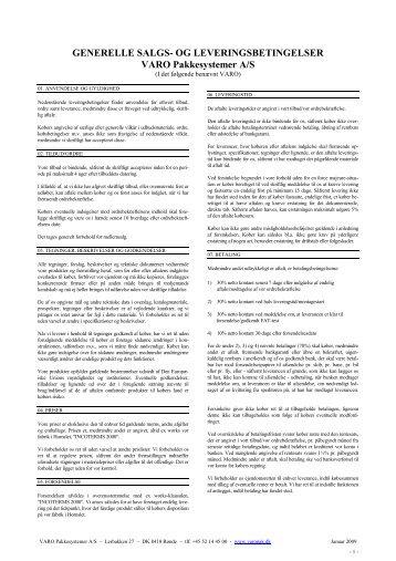 VAROs generelle salgs- og leveringsbetingelser