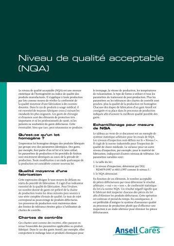 Niveau de qualité acceptable (NQA) - Ansell Healthcare Europe