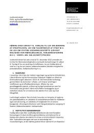 Høring over udkast til forslag til lov om ændring af straffeloven, lov ...