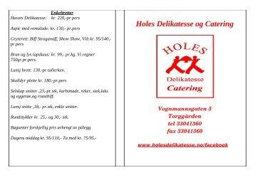 Koldtbord meny - Holes Delikatesse & Catering