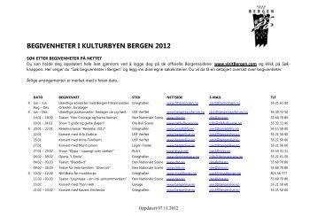 BEGIVENHETER I KULTURBYEN BERGEN 2012 - visitBergen