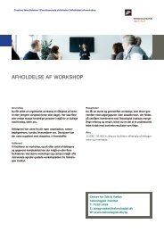 AFHOLDELSE AF WORKSHOP - Teknologisk Institut