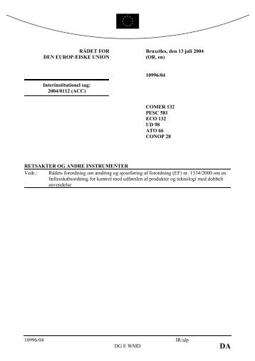 Rådets forordning om ændring og ajourføring af forordning (EF)