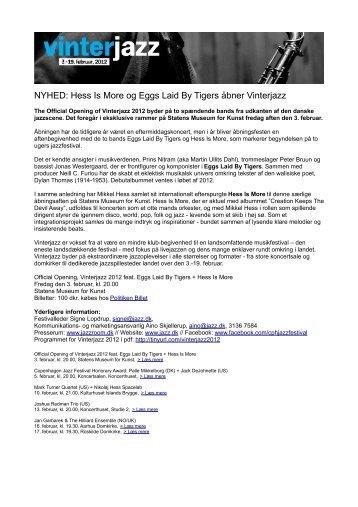 NYHED: Hess Is More og Eggs Laid By Tigers åbner Vinterjazz