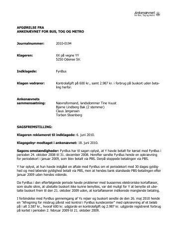 Afgørelse 2010-0194, 31. januar 2011 - FynBus - Ankenævnet for ...