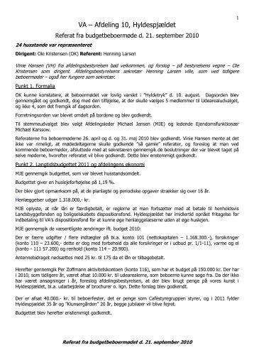 Referat 21. september 2010 - Hyldenet