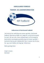 Velkomstfolder til Trænere og ledere - Karlslunde IF Fodbold
