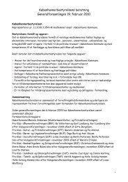 Københavnerbestyrelsens beretning Generalforsamlingen 19. februar 2010