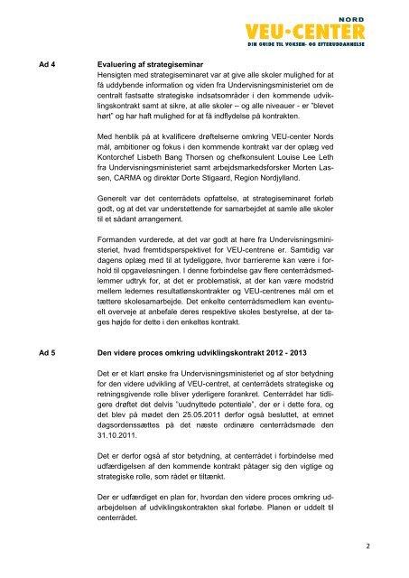 Referat af ordinært VEU-centerrådsmøde