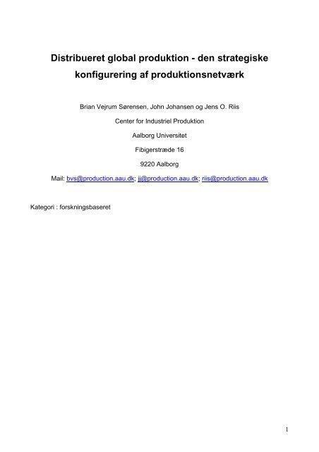 Distribueret global produktion - Det Danske Ledelsesakademi