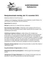 Bestyrelsesmøde mandag, den 19. november 2012. - Dybbølparken