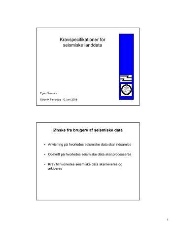 Kravspecifikationer for seismiske landdata