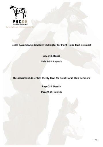 Vedtægter - Paint Horse Club Denmark