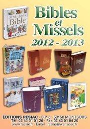 Catalogue Bibles et Missels 2012-2013 - Editions Résiac