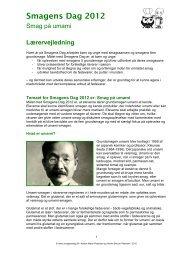 lærervejledning 2012 - Smagens Dag
