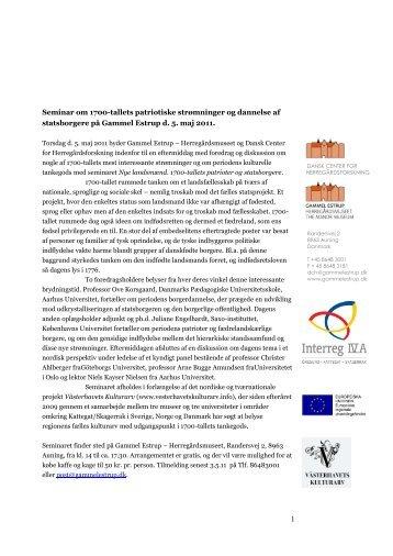 Seminar om 1700-tallets patriotiske strømninger og dannelse af ...
