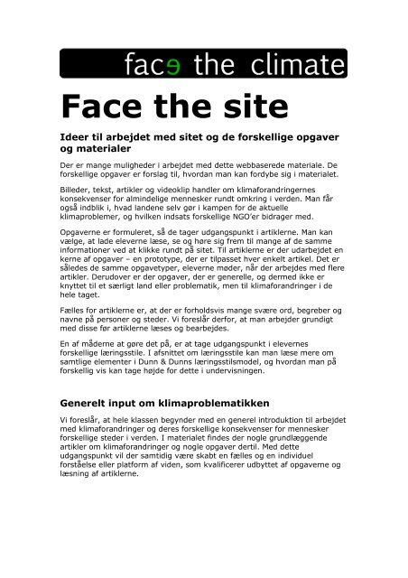 Ideer til arbejdet med sitet - Face The Climate