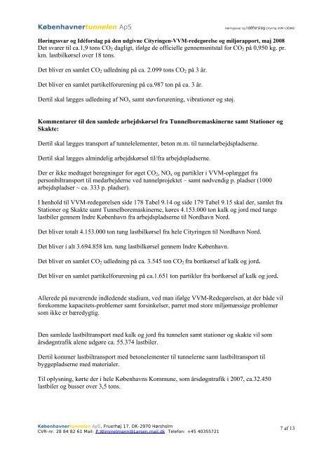 Høringssvar og Idéforslag på den udgivne Cityringen-VVM ...