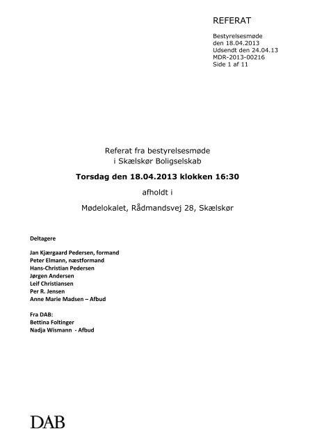 2013-04-18, referat - Skælskør Boligselskab