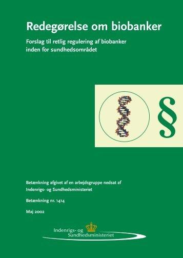 Redegørelse om biobanker