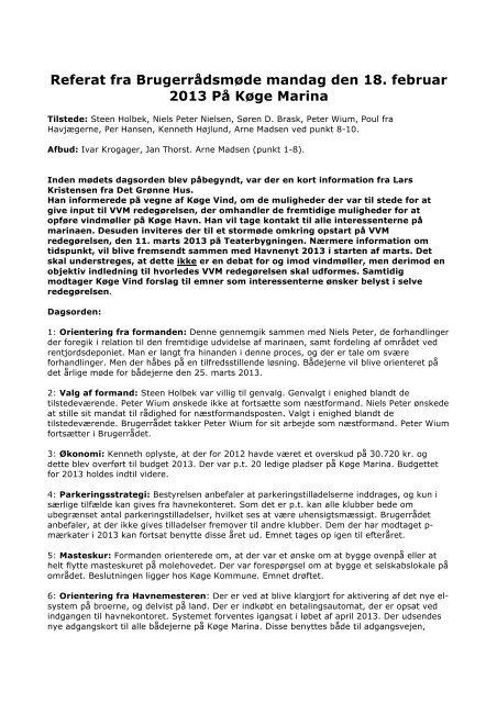 Referat fra mødet 18.02.2013 - Køge Marina
