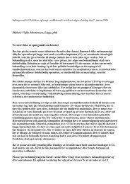 Indlæg sendt til Politiken og bragt i redaktionelt revideret udgave ...