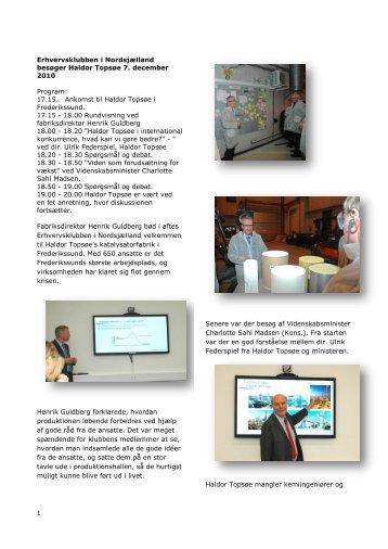 Møde hos Haldor Topsøe den 7. december 2010 - Erhvervsklubben ...
