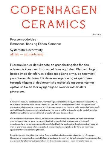 Pressemeddelelse Emmanuel Boos og Esben Klemann: Systematic ...