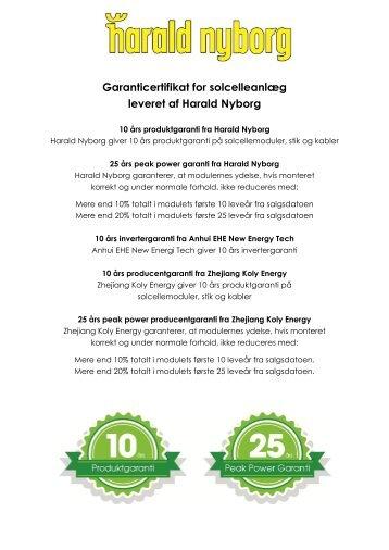Garanticertifikat for solcelleanlæg leveret af Harald Nyborg