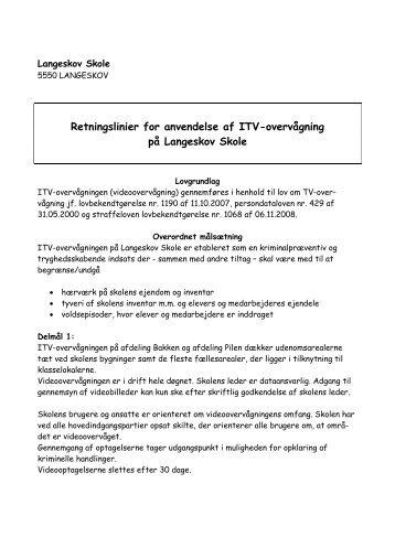 Anvendelse af ITV-overvågning - Skoleporten Langeskov Skole