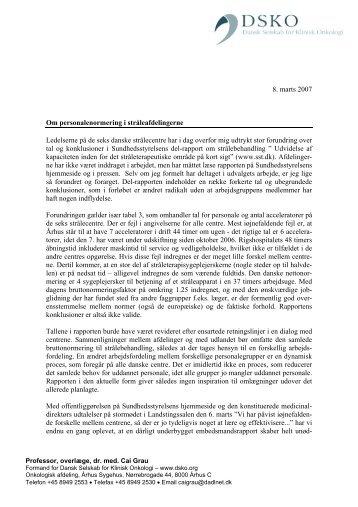 DSKOs kommentar - Dansk Selskab for Klinisk Onkologi