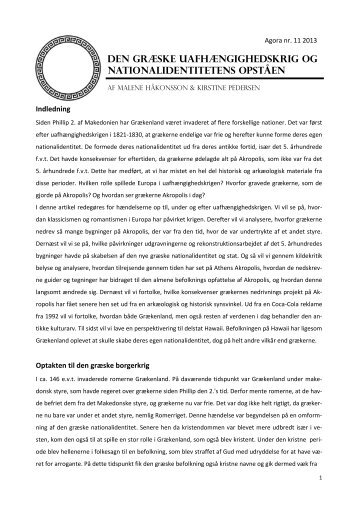 Den Græske uafhængighedskrig og nationalidentitetens ... - e-agora