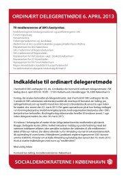 Indkaldelse til ordinært delegeretmøde - Socialdemokraterne i ...