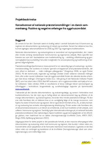 Projektbeskrivelse præstationsmålinger - KREVI