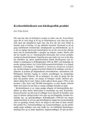 Krydsordsleksikonet som leksikografisk produkt - Det Danske Sprog ...