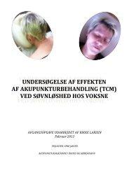 Effekten af Akupunkturbehandling ved søvnløshed hos voksne, hold