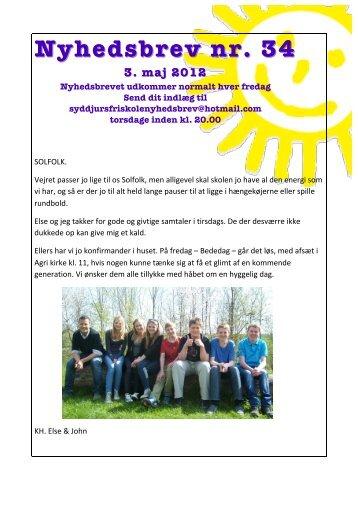 nyhedsbrev nr. 34 – 3. maj 2012 - Syddjurs Friskole