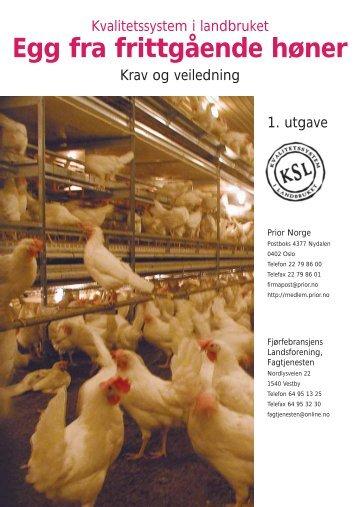Kvalitetssystem i produksjon av egg fra frittgående høner - Nortura