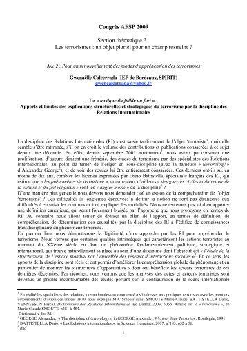Congrès AFSP 2009 Section thématique 31 Les terrorismes : un ...